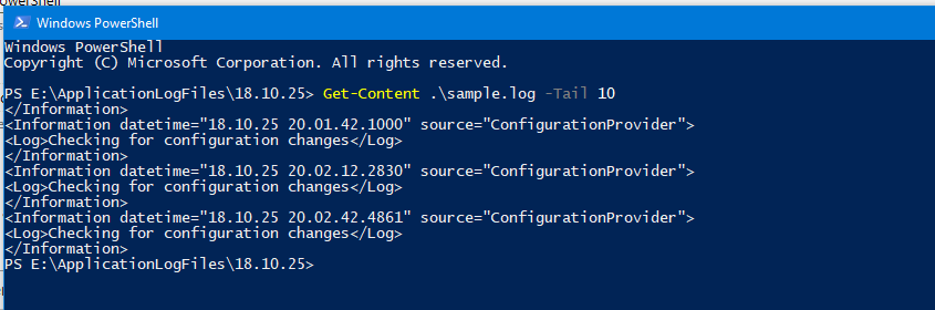 Using PowerShell to get the end of a file