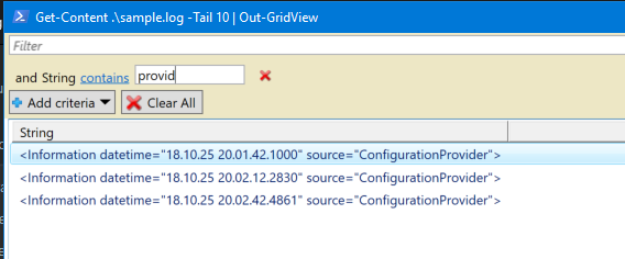 Using PowerShell to tail a file, then displaying the results in a baked in searchable grid