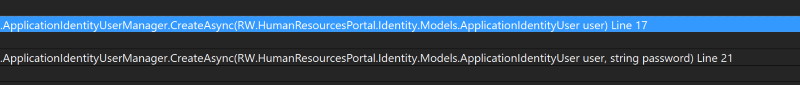 Visual Studio showing via the Call Stack window that both the CreateUser methods get called