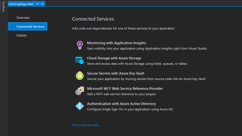 The Connected Services page in Visual Studio 2017 where Azure Storage can be selected