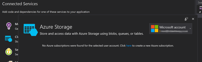 The Azure Storage connected service wizard in Visual Studio 2017 for a user with no associated Azure subscription