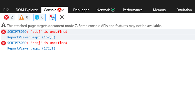 Developer Tools showing the error that's indicative of an old version of Crystal Reports and an upgraded version of the .NET Framework