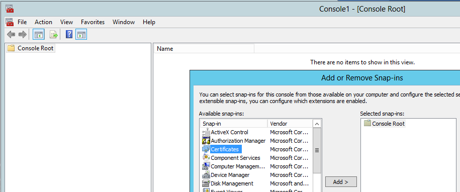 The Add or Remove Snap-ins window allows you to choose the Certificates snap-in