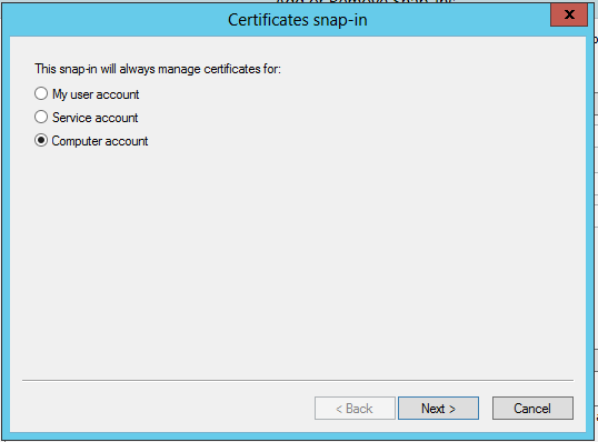 Selecting the Computer account certificate store
