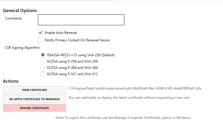 The 'Other Options' part of the Certify SSL/TLS Certificate Management app that shows where the certificate is written