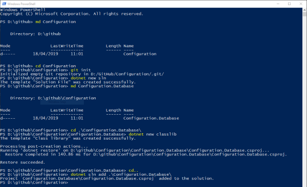Using PowerShell to create the project and solution structure