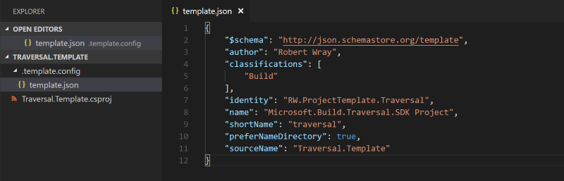 Using Visual Studio Code to write the definition of a dotnet template