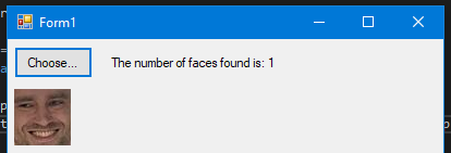The Windows Forms app showing the face that the UWP facial recognition API extracted from an image