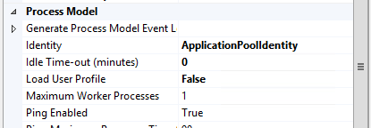 An application pool with 'Load User Profile' set to False
