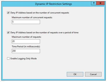 The Dynamic IP Restriction Settings window in 'Internet Information Services (IIS) Manager'