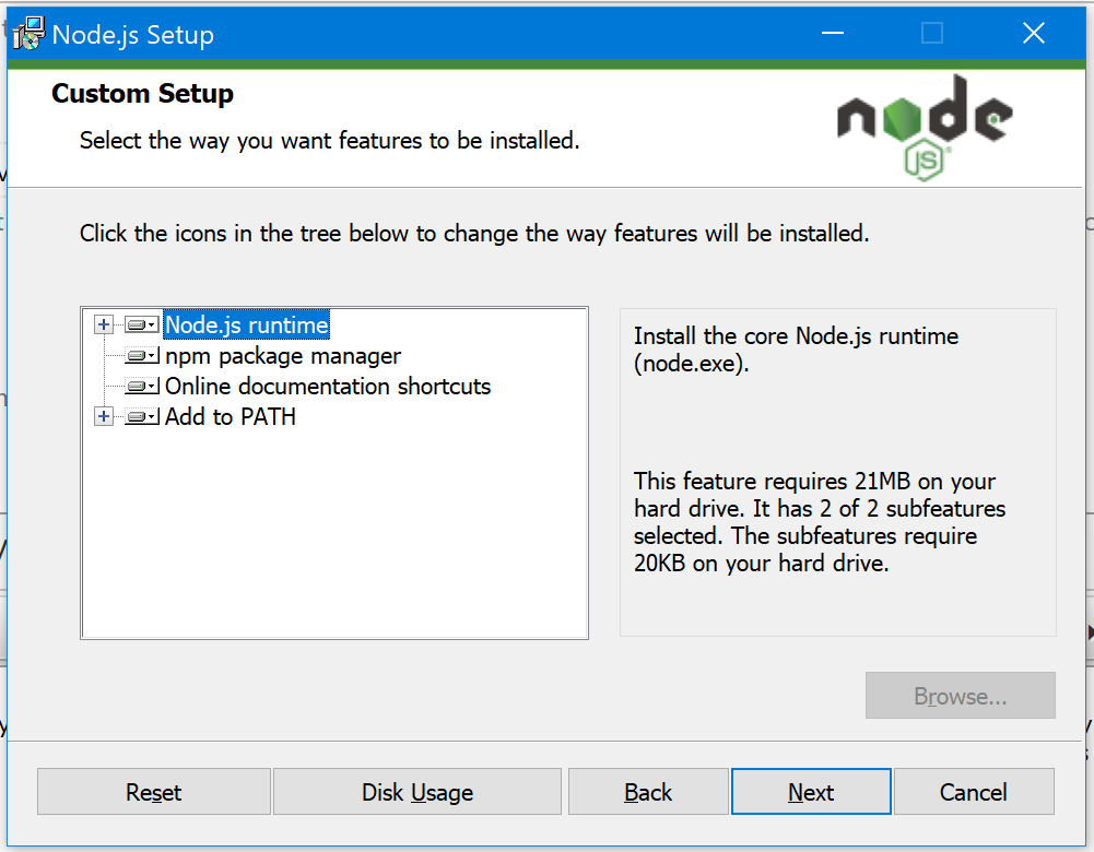 install node js package manager visual studio