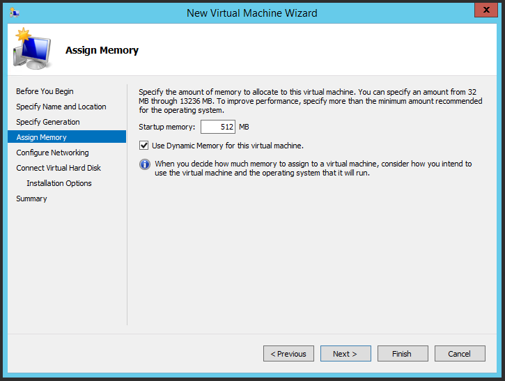 Assigning memory to the virtual machine