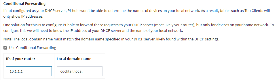 The 'Use Conditional Forwarding' setting in Pi-hole' in Settings, DNS