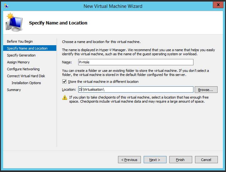 Naming the Virtual Machine and determining where to store it