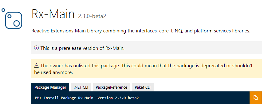 A screenshot of the NuGet page for the Rx-Main package showing that it's been unlisted