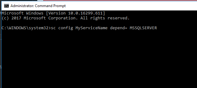 Setting service dependencies via the command line