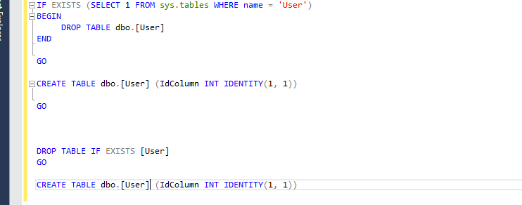 The new syntax in SQL Server 2016 for dropping a table if it already exists