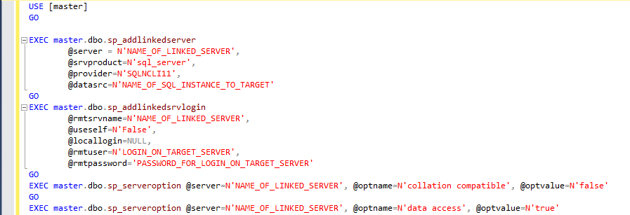 Creating a linked server where the linked server name is different to the server it's targeting