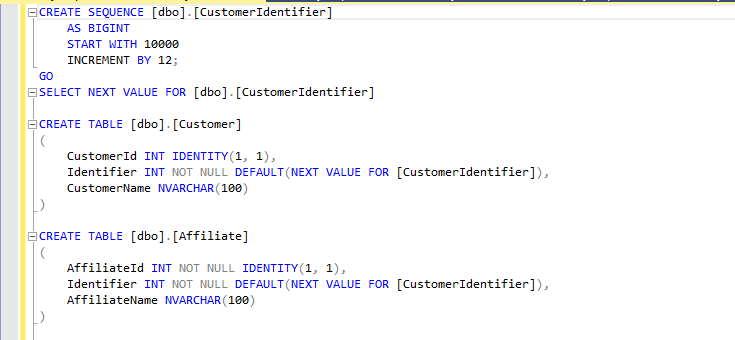 The SQL statements needed to create a new Sequence and bind it to two different columns via defaults