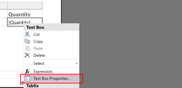 Picking the properties option from the context menu