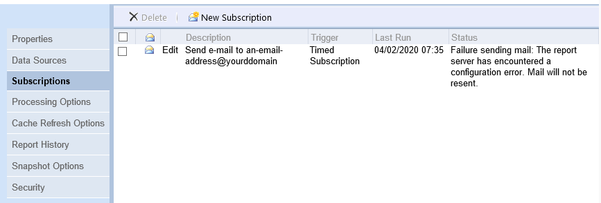 The 'Subscriptions' tab in SSRS showing the status of a timed subscription that's failed to send by email