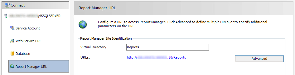 Select 'Report Manager URL' in the user interface to configure HTTPS access to the reporting web user interface