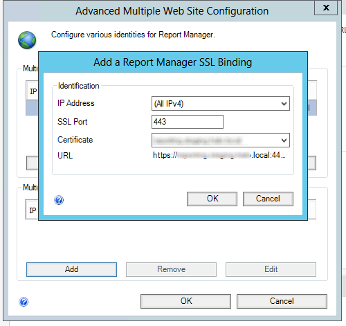 Configuring the SSL binding for Reporting Services