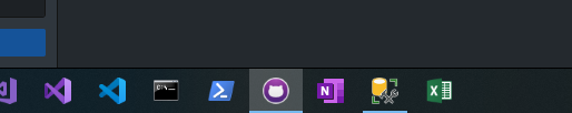 Windows 10 taskbar with the new Visual Studio Code icon showing after running the command to trigger an icon cache refresh