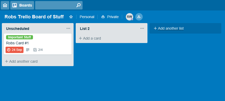 A very small Trello Board with a solitary item that's past its due date