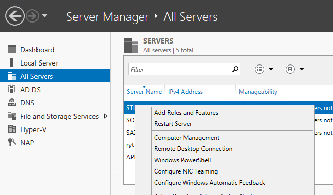 Adding the Network Policy and Access Server role through Server Manager