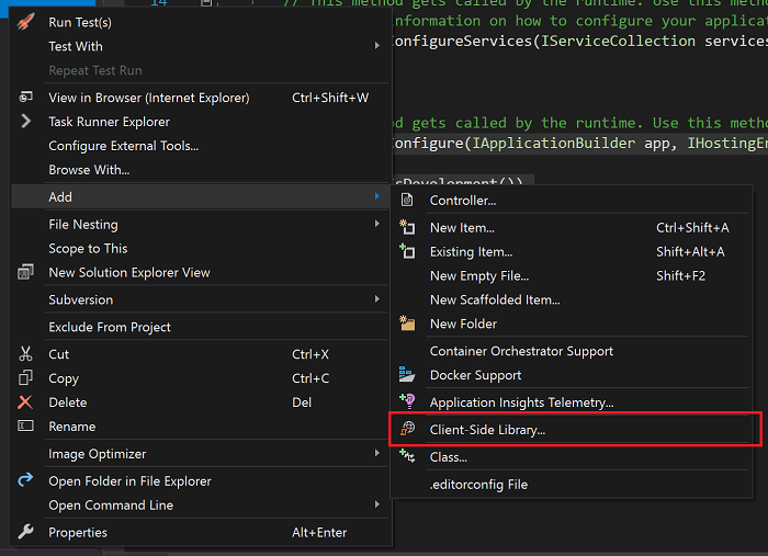 The menu option in Visual Studio to fire up LibMan