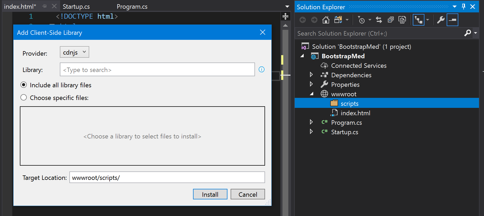 Using the new Visual Studio Library Manager