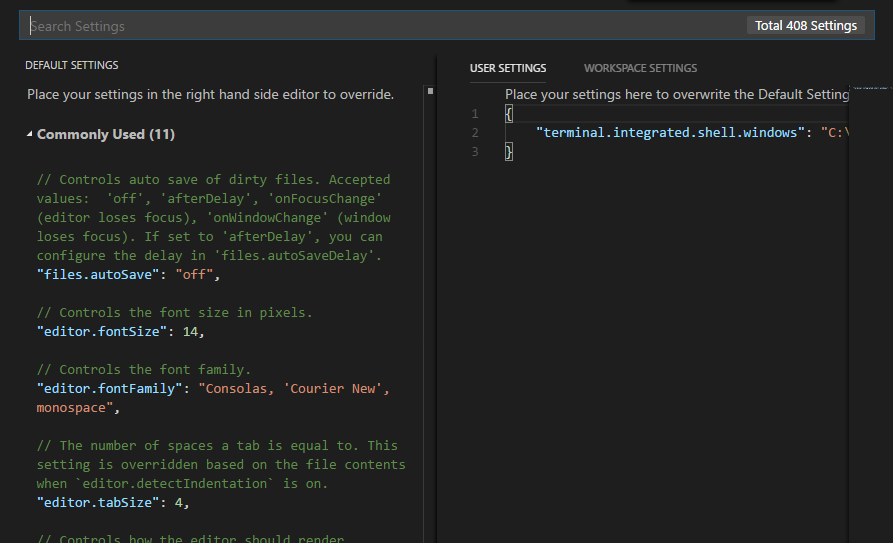 The editor for Visual Studio Code user settings