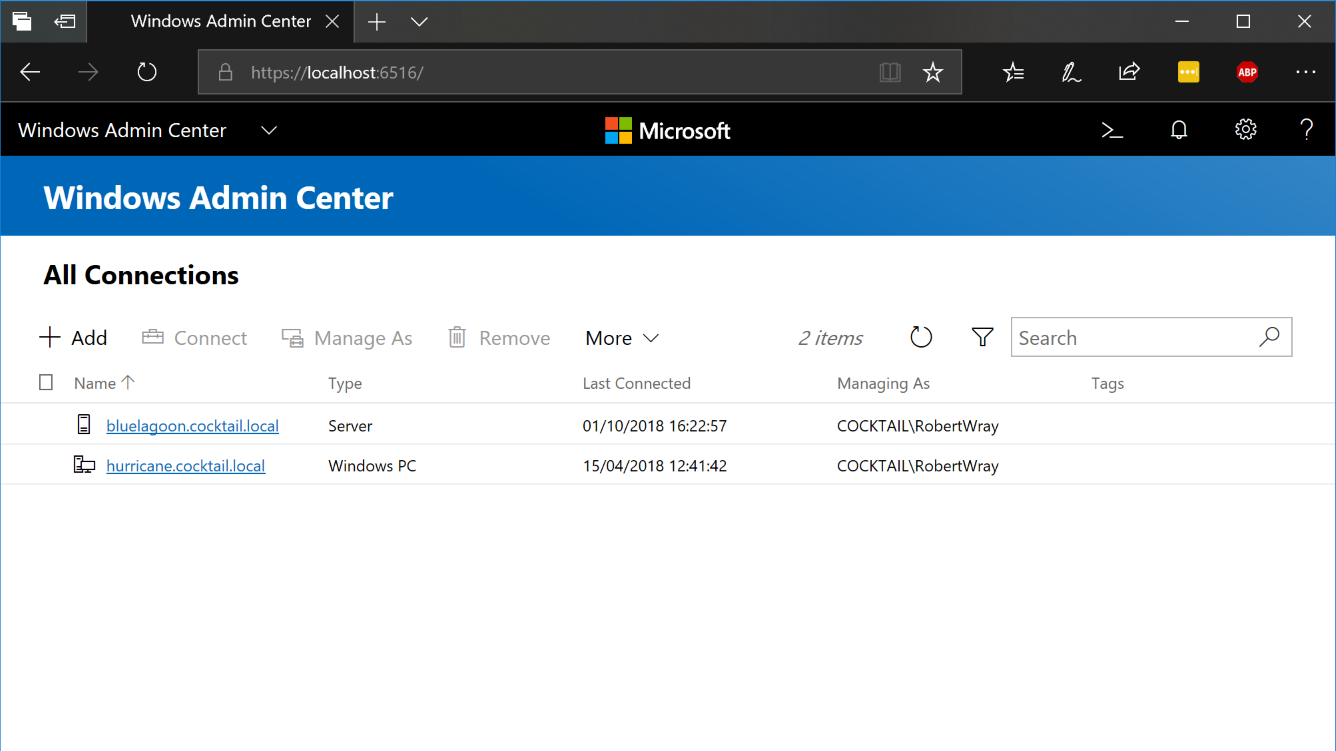The home page of Windows Admin Center doesn't look like much, especially if you've not connected it to many servers or PCs yet, appearances can be deceiving though,... it's actually a very powerful tool!