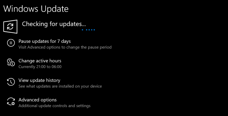 The Windows Settings app showing updates being scanned for