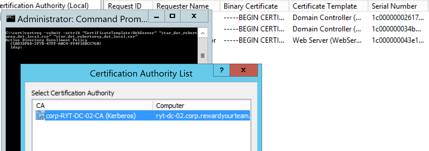 Selecting the CA to issue the certificate