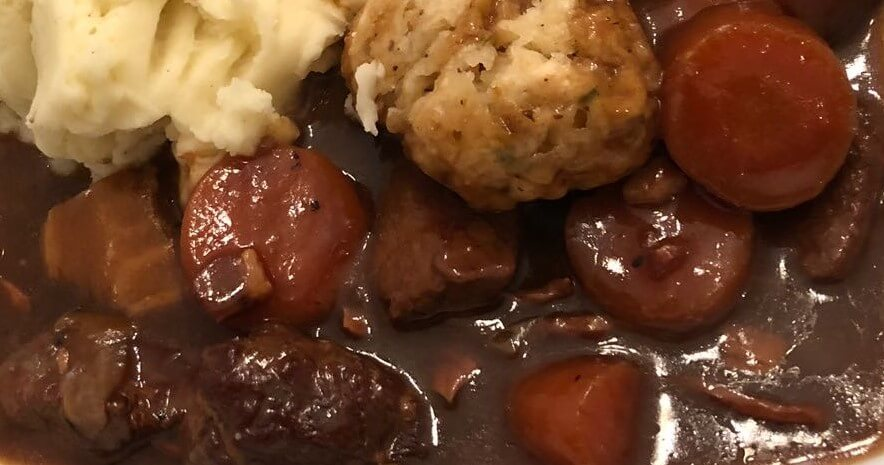 Braised beef shin, served with thyme dumplings and mashed potato