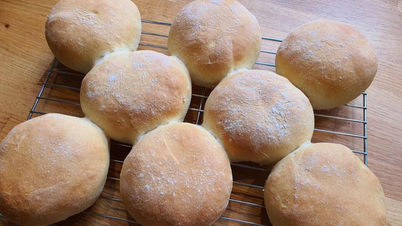 Bread rolls, cooling from the oven